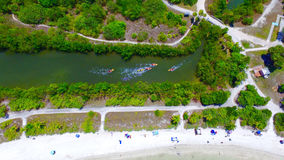 Kayaking Aerial View in Miami Royalty Free Stock Images