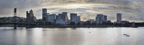 Kayaking Along the Willamette River in Portland Waterfront Stock Photography