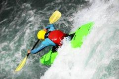 Kayaking als extreme en pretsport stock afbeelding