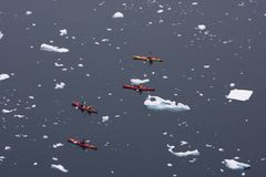Kayaking in Antarctica Royalty Free Stock Photos
