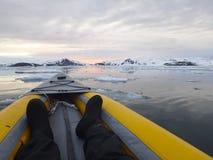 Kayaking Antarctica ice field horizon Stock Photo