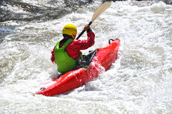 Kayaking as extreme and fun sport Royalty Free Stock Photo