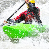 Kayaking as extreme and fun sport Stock Photos