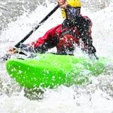 Kayaking as extreme and fun sport stock photos