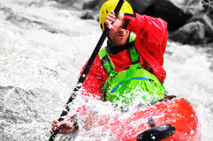 Kayaking as extreme and fun sport Stock Images