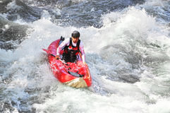 Kayaking as extreme and fun sport Royalty Free Stock Photography