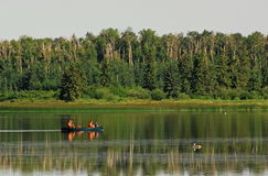 Kayaking on astotin lake Royalty Free Stock Photos