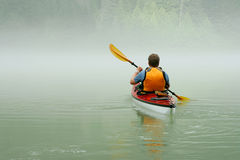 Kayaking in Banff fotografia stock