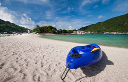Kayaking on the beach Royalty Free Stock Photo