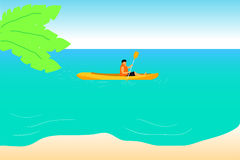 Kayaking on beautiful blue sea. A man Kayaking on beautiful blue sea Royalty Free Stock Image