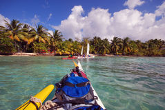 Kayaking in Belize. Kayaking to South Water Caye, along the Mesoamerican Reef in Belize stock images