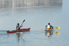 Kayaking on Óbidos Lagoon Royalty Free Stock Images