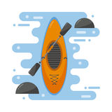 Kayaking boat vector illustration. Stock Images