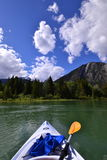 Kayaking on the Bow river Royalty Free Stock Images
