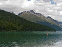 Kayaking at Bowman Lake Royalty Free Stock Image