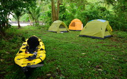 Kayaking and camping in tropical location in Central America Royalty Free Stock Photography