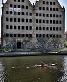 Kayaking on the city stock photo