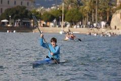 Kayaking competition in Palma de Mallorca to celebrate local festivities. Of saint sebastian patron of the city of palma stock image