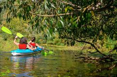 Kayaking da família, mãe e criança remando no caiaque na excursão da canoa do rio, fim de semana e férias ativas do verão, esport fotos de stock