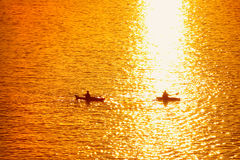 Kayaking at Dawn Stock Images