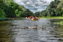 Kayaking de transporter de rivière editoal Photos libres de droits
