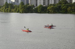 Kayaking in downtown Austin Texas Stock Images