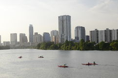 Kayaking in downtown Austin Texas Stock Photos