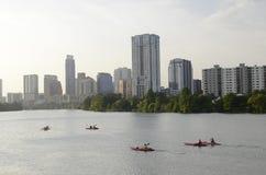 Kayaking in downtown Austin Texas Stock Photos