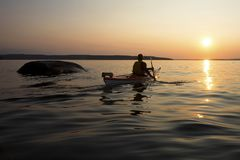 Kayaking 30 Duizend Eilanden - Georgische Baai Royalty-vrije Stock Afbeelding