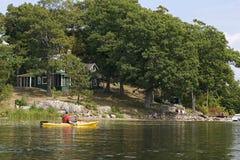 Kayaking - Duizend Eilanden, Ontario stock fotografie