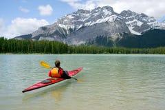 Kayaking em Banff Foto de Stock