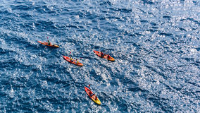 Kayaking en Mer Adriatique Photographie stock libre de droits