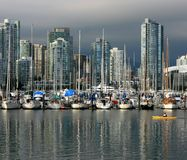 Kayaking in False Creek Vancouver Royalty Free Stock Images