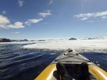 Kayaking fast ice, Gustaf Sound, Antarctica Royalty Free Stock Photos