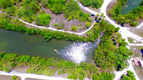 Kayaking flyg- sikt i Miami Arkivbild