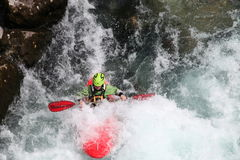 Kayaking Forrest waterfall  slovenia Royalty Free Stock Image