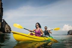 Kayaking Fun Activity Holiday Recreation Concept royalty free stock photos