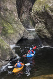 Kayaking in Glen Esk Gorge in Angus. stock images