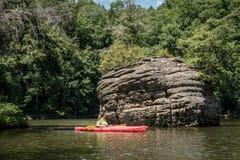 Kayaking on Grayson Lake stock photo
