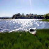 Kayaking in het meer van Vancouver Stock Foto's