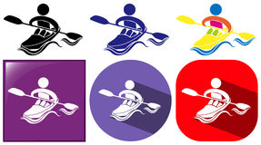 Kayaking icon in many designs Royalty Free Stock Photography