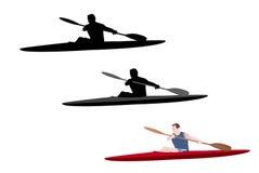 Kayaking illustration Arkivbild