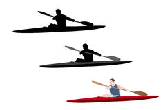 Kayaking illustration. Kayaking silhouette and  color illustration - vector Stock Photography