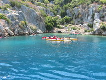 Kayaking at Kekova, Turkey Royalty Free Stock Photography