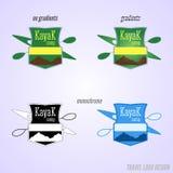 Kayaking lägeremblem och logodesign expedition royaltyfri illustrationer