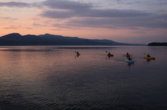 Kayaking on Lake Champlain Stock Image