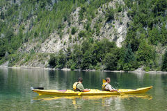 Kayaking in a lake Royalty Free Stock Photography