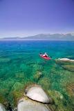 Kayaking on Lake Tahoe royalty free stock photography