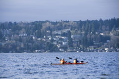 Kayaking on Lake Washington Royalty Free Stock Photos