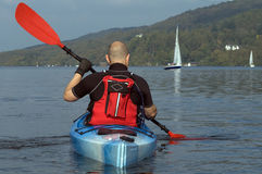 Kayaking on Lake Windermere Royalty Free Stock Image